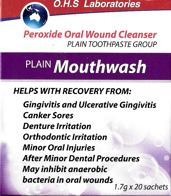 4-pack Peroxide Oral Wound Cleanser (generic Oral B Amosan Sachets) with FREE toothpaste